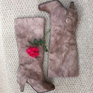 Not Rated Distressed Brown/Tan Heeled Boots